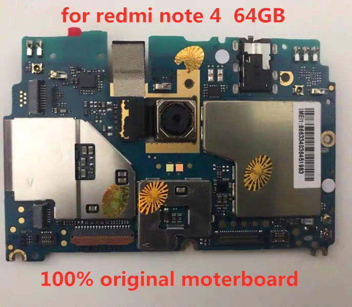 Full working For redmi note 4 Motherboard,100% Original unlocked for redmi note 4  Logic boards without touch ID 64GB