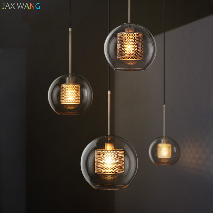 Loft Modern Nordic Pendant Lights For Dining Room Restaurant Desktop Bedroom Decorative Kitchen Glass Ball Hanging Lamps Fixture