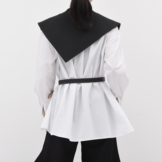 [EAM] Women Loose Fit Black Brief Irregular Split Joint Big Size Vest New Lapel Sleeveless  Fashion  Spring Summer 2021 1U52701 5