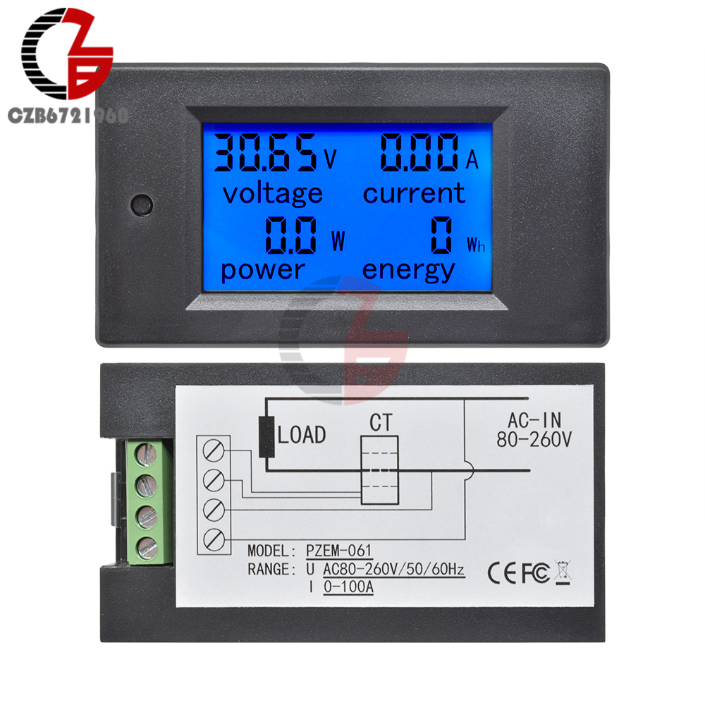 20A 50A 100A AC 80-260V DC 6.5-100V LCD Digital Voltmeter Ammeter Power Energy Car Voltage Current Meter Volt 12V 24V 110V 220V