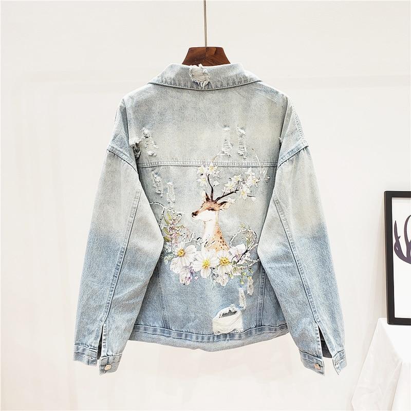 Spring Loose Harajuku Beading Sequins Deer Print Blue Hole Denim jacket women Streetwear Autumn Casual jean jacket Ropa de mujer