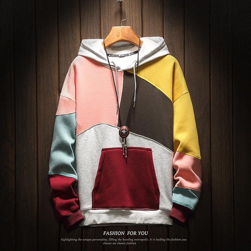 Hoodie Men Pullover Men's Colorblocked Best Quality 2019 New Fashion Sweatshirts Mens Patchwork Japanese Retro Hooded Hoodies