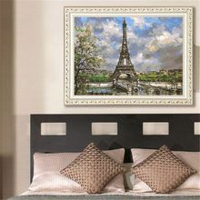 Europe Architecture DIY Oil Painting Paint By Number Kits For Adults Kids Beginners Drawing With Brushes On Linen Canvas