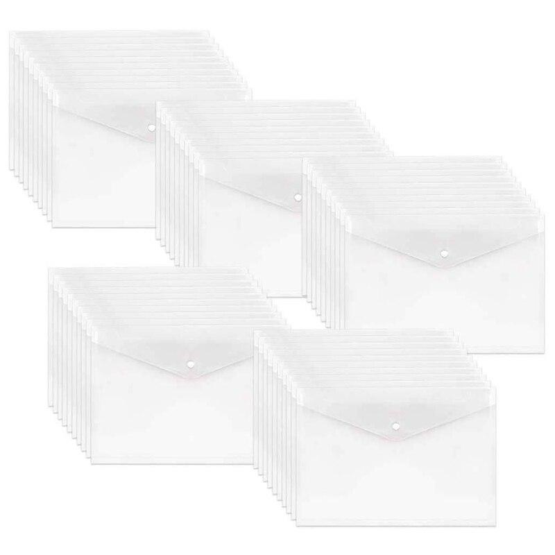 50Pcs Poly Envelope, Clear Plastic Waterproof Envelope Folder With Button Closure, Letter Project Envelope Folder A4 Size