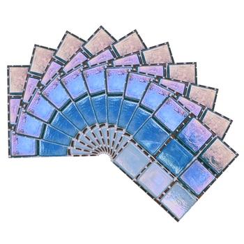 10*10cm Mosaic Self Adhesive Tile Wall Stickers Vinyl Bathroom Kitchen Home Decoration DIY PVC Stickers Decals Wallpaper 10pcs 11