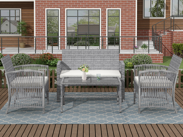 8 Pieces Outdoor Furniture Rattan Chair & Table Patio Set Outdoor Wicker Sofa for Garden Backyard Porch and Poolside 5