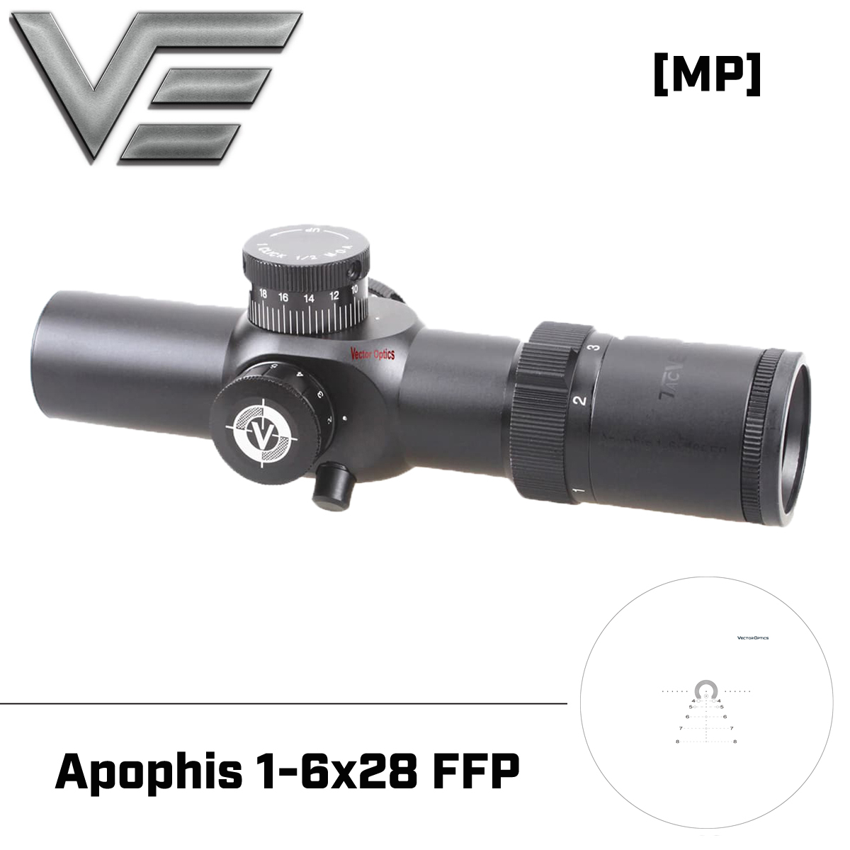 Vector Optics Apophis 1-6x28 FFP Tactical Riflescope 35mm High Quality Scope Fit .223 .308 DPMS Bushmaster Ruger SR-556 Shooting
