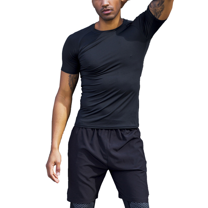 Men's 2020 Training Jogging Fitness Stretch Short Sleeve+Sports Shorts 2-piece Gym Outdoor Tights Sports Running Set