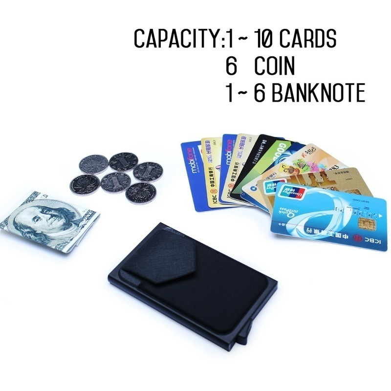 Men Business Aluminum  Cash ID Card Holder RFID Blocking Slim Metal Wallet Coin Purse card case  credit card wallet rfid wallet 6