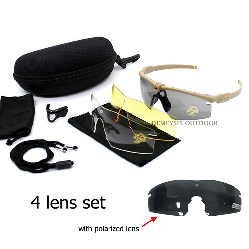Polarized Glasses CS Army Tactical Motorcycle Hunting Shooting Airsoft Bullet-proof Military Goggles With 3 Lens Kit