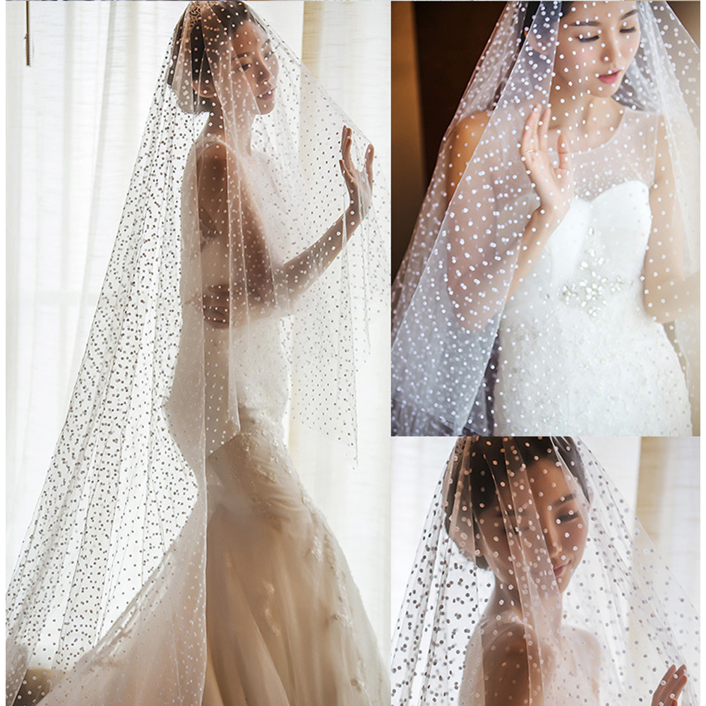 2M Length Dots Tulle Wedding Veil Tulle 1T White Bridal Veil Elegant Bride Veil Ivory Bridal Party Veils Without Comb
