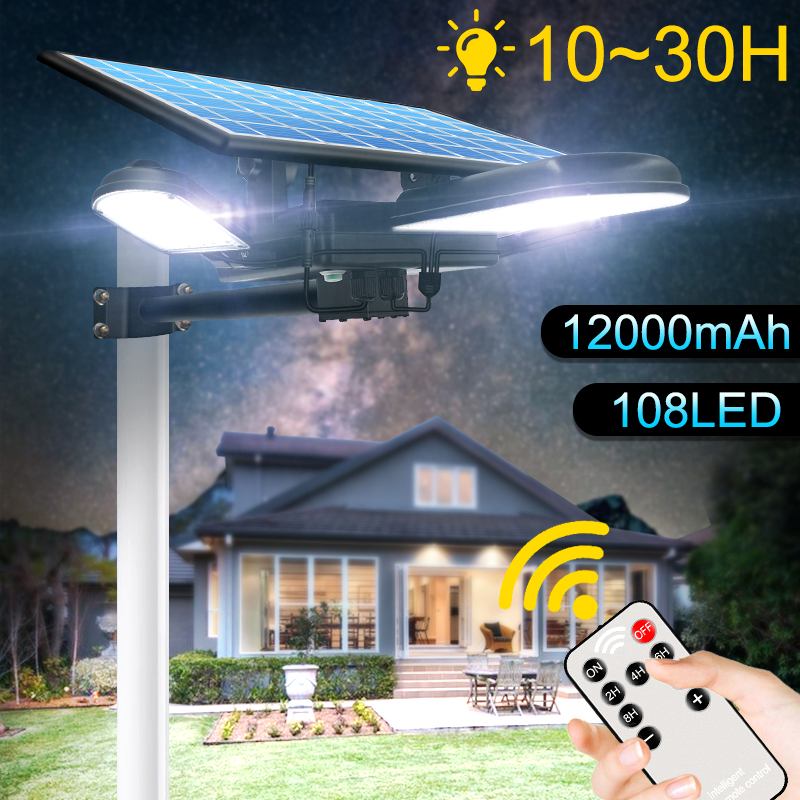 108led Solar Street Light With Remote Control Long Working Time Solar Lamp Newest Security Lighting For Garden Road Wall