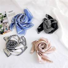 Striped New Small Scarf Women 's All -match Korean -Style Neckerchief Work Professional Decorations