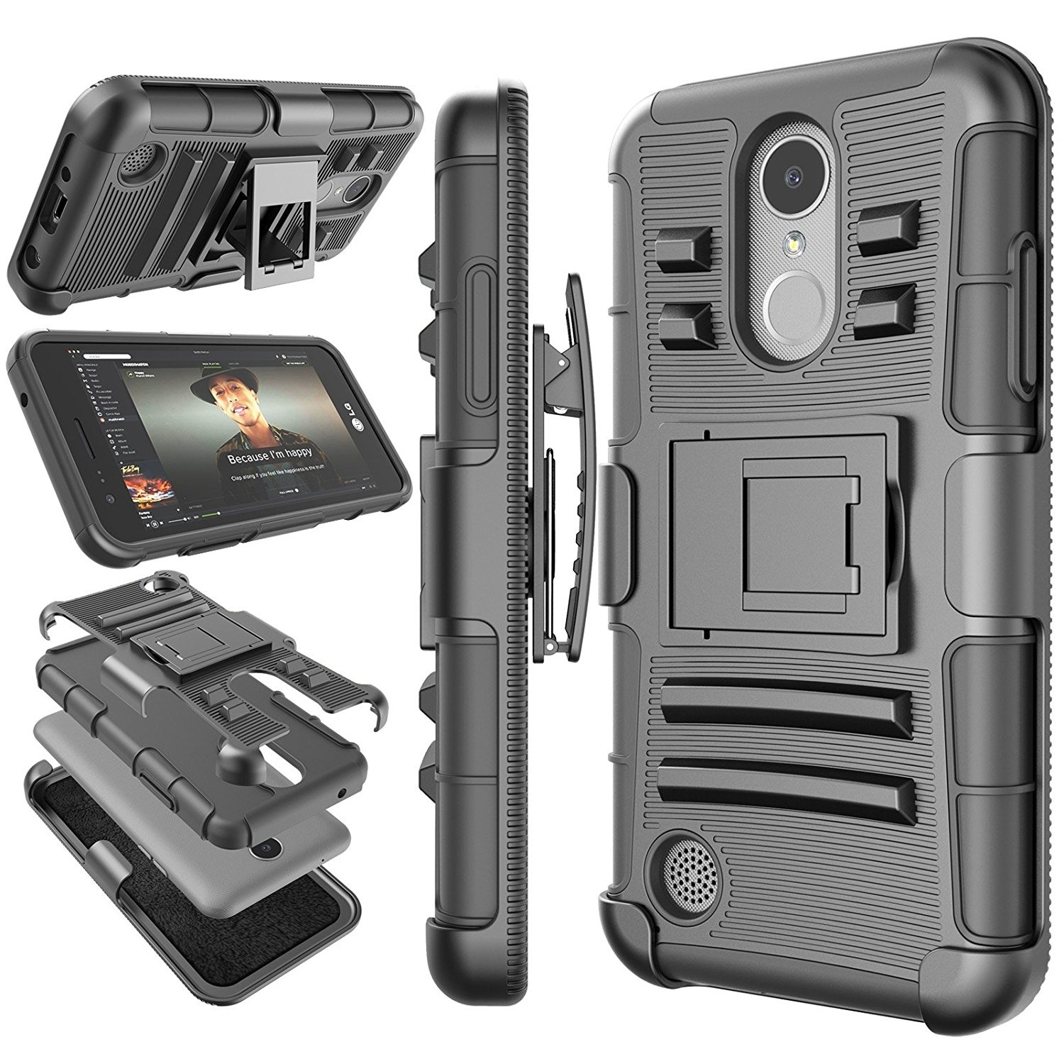 Belt Clip Hard Armor Case for <font><b>LG</b></font> V40 <font><b>V50</b></font> <font><b>ThinQ</b></font> V30 Q7 Stylo 5 4 K30 2019 K40 Phoenix 3 K10 2018 G8 <font><b>ThinQ</b></font> Cover Kickstand image