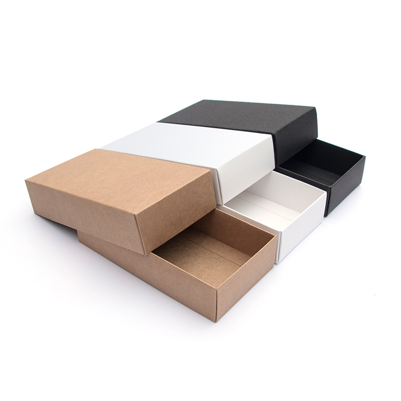 10pcs/kraft paper gift box Festival Party exquisite blank carton white black card packing box carton supporting printing logo
