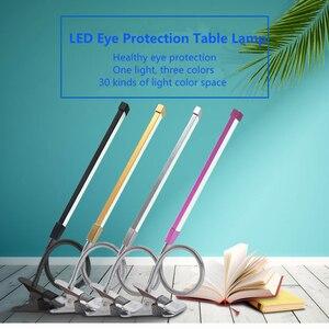 Image 2 - 80 LED 8W długie ramię lampy stołowe LED na biurko czytaj lampa stół biurowy ochrona oczu światło USB zasilany składany ściemniacz 10 poziomów zacisk