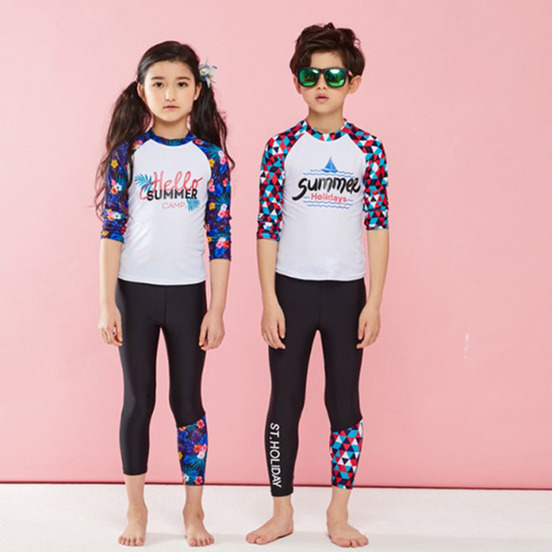 KID'S Swimwear GIRL'S Long Sleeve Split Type Set Quick-Dry Sun-resistant Snorkeling Suit Surf Wear Big Boy GIRL'S Swimsuit