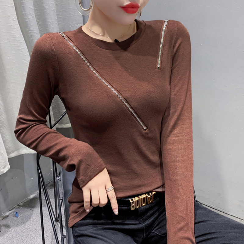New 2020 Autumn winter long sleeve woman tshirts Fashion casual solid color zipper t-shirt women tops plus size women clothes
