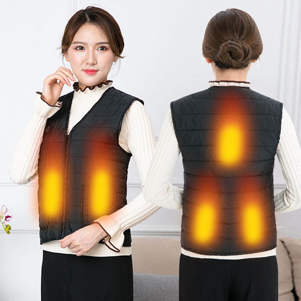 Women Men Heating Vest Adjustable Waistcoat Hiking USB Charging Electric Winter Travel Three Grades Fishing One Button Skiing