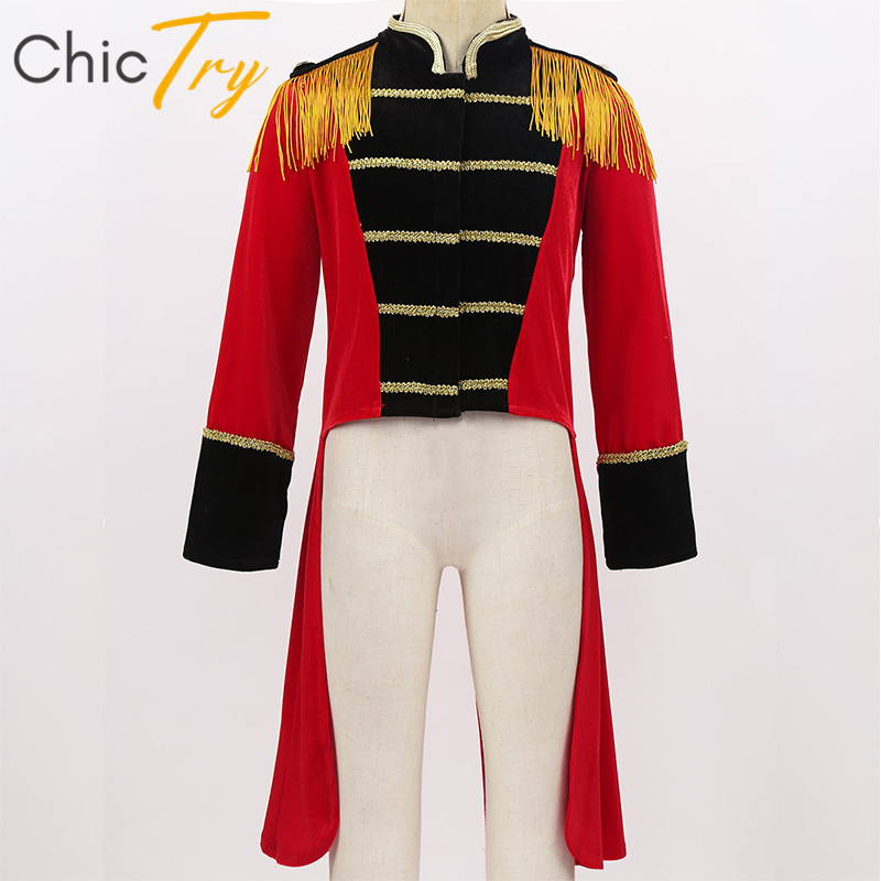 Kids Halloween Long Sleeves Stand Collar Fringes Gold Trimmings Tailcoat Jacket Boys Roleplay Party Ringmaster Circus Costume