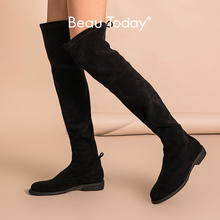 Lady Shoes Long-Boots Stretch-Fabric Women Handmade Over-The-Knee Winter Fashion Lace-Up