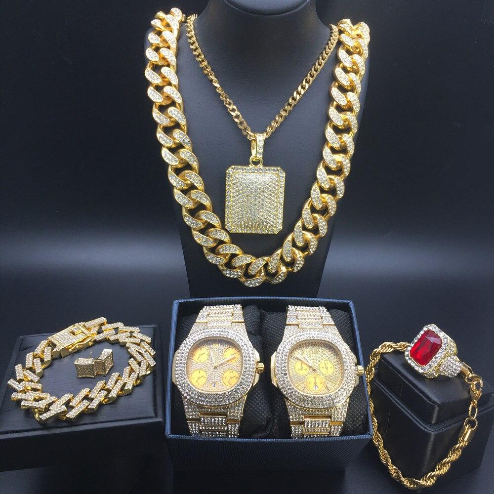Hommes de luxe or montre Hip Hop hommes montre & collier & Bracelet & bague & boucles d'oreilles ensemble Combo Ice Out cubain collier chaîne pour hommes