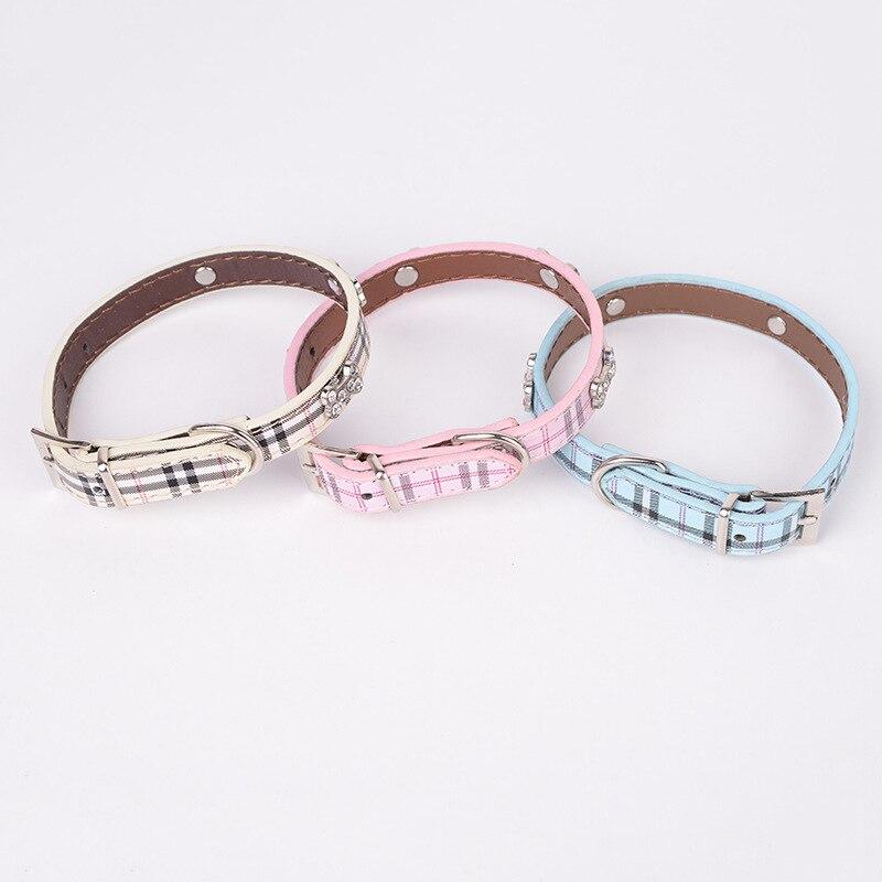 Hot Sales Creative Plaid With Man-made Diamond Bone Pet Collar Outdoor Dog Pu Neck Ring Pet Supplies