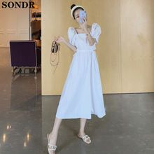 Корейское Платье макси с круглым вырезом и коротким рукавом