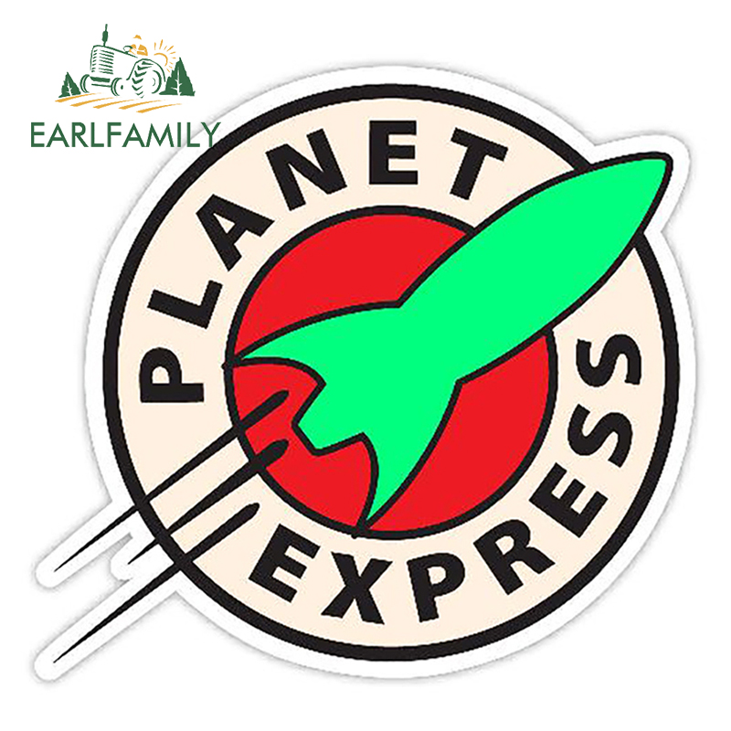 EARLFAMILY 13cm X 12.1cm Car Styling Planet Express Vinyl Decal Cartoon Car Sticker Waterproof Auto Motor Decoration Graphics