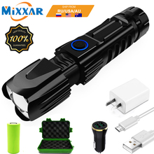 ZK20 Dropshipping XHP90 LED Flashlight Telescopic Zoom USB Charging Tactical 26650 Hunting Flashlights with Bottom Attack Cone