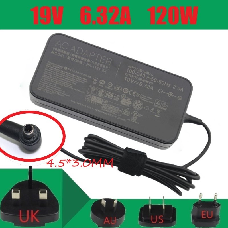 AC Adapter Power Supply <font><b>Charger</b></font> <font><b>19V</b></font> <font><b>6.32A</b></font> 4.5*3.0 for Laptop for <font><b>ASUS</b></font> ADP-120RH B/PA-1121-28 N750 N500 A15-120P1A YX570U FX86F image