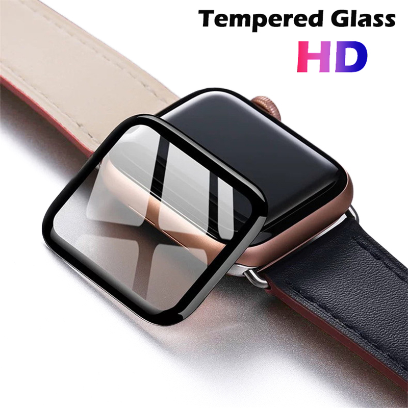 3D Full Cover Tempered Glass for Apple Watch 5 Band cover Series 5 4 3 2 1 Glass Screen Protector For iwatch 38mm 42mm 40mm 44mm