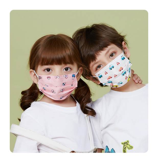 Disposable Child Face Mask 3 Layer Respirator Non-Woven Masks Kids mask children Mouth Mask Anti Pollution Print Face Masks 4
