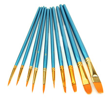 10Pcs Watercolor Round Pointed Acrylic Tip Nylon Hair Artists Paint Brush Set L4MB