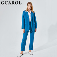 GCAROL Women Blazer And Guard Pants Sets Two Pieces OL Single Breasted Jacket Formal Suit Pleated Trousers Spring Autumn Winter 1