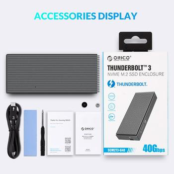 ORICO Thunderbolt 3 40Gbps NVME M.2 SSD Enclosure 2TB Aluminum USB C with 40Gbps Thunderbolt 3 C to C Cable For Laptop Desktop 6