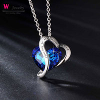 Brand Chic Cubic Zirconia Heart Shaped Pendant Necklace Blue Romantic Gift Female Jewelry For Girls Gift Crystal 2019 Pendants