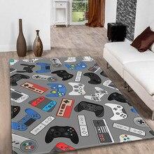 Anime gamer controlador 3d tapete antiderrapante casa decoração tapetes para sala de estar quarto área tapetes macio flanela criança tapete de jogo
