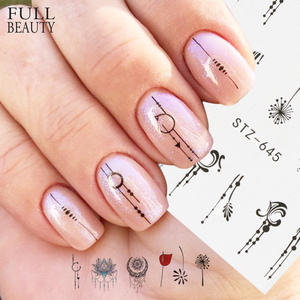 1pcs Nail Water Transfer Sticker Linear Flower Pattern Nail Art Decorations Slider For Nail Manicure Watermark Foils CHSTZ645(China)