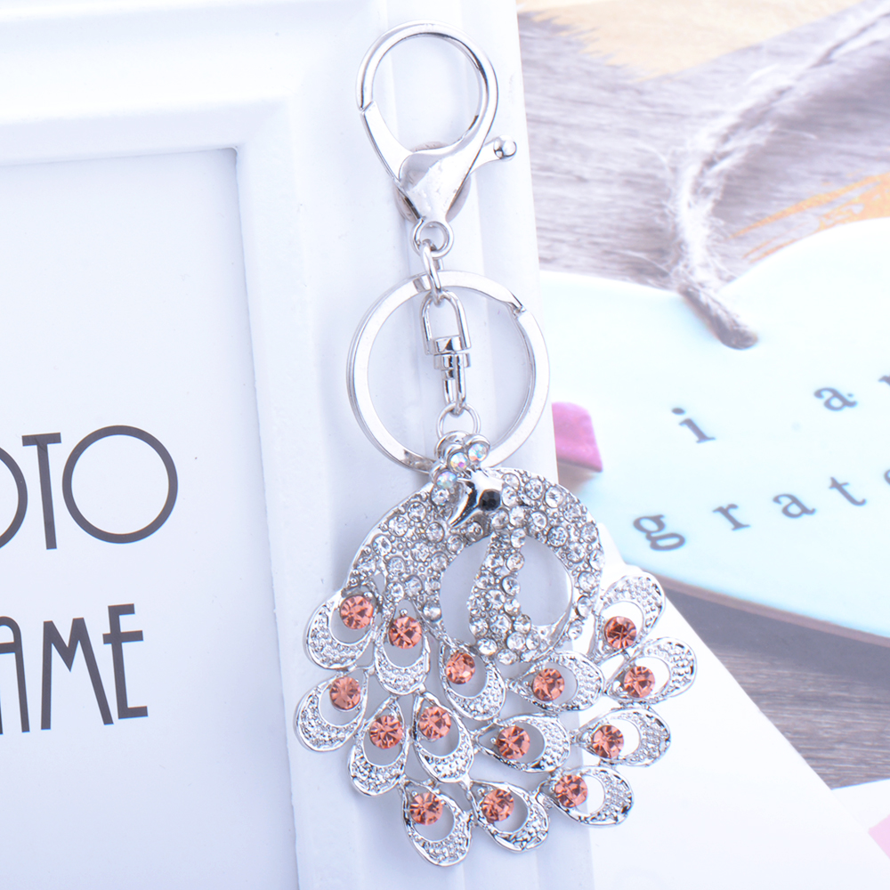 Full Zircon peacock Keychain Charm Crystal Vintage Choker Cute Pendant Torque Sweater Keychain Flawless Ornaments Keychain gift