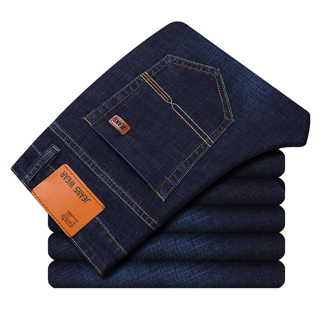 Brand 2020 New Men's Fashion Jeans Business Casual Stretch Slim Jeans Classic Trousers Denim Pants Male Black Blue 1