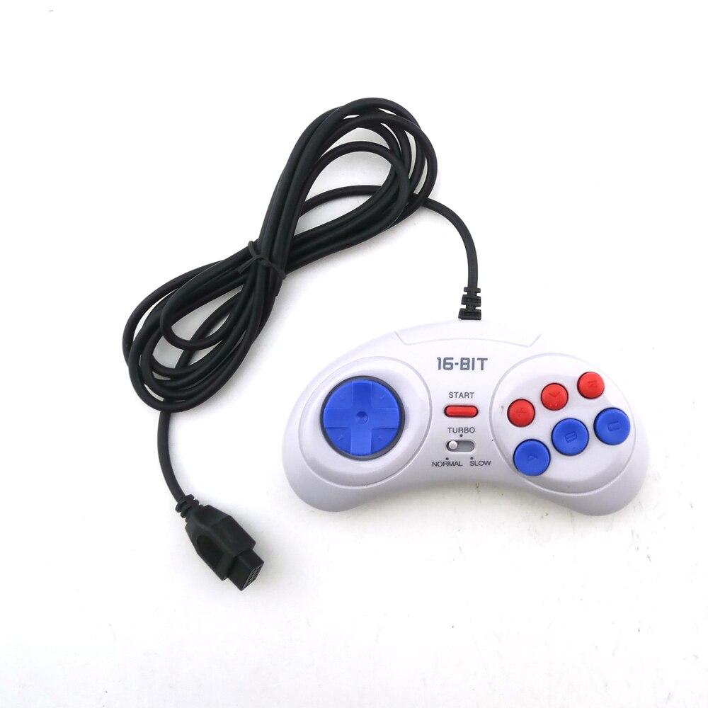 2 pces controlador de jogo para sega genesis para 16 bit lidar com gamepad para md acessórios de jogo trazer turbo e função lenta