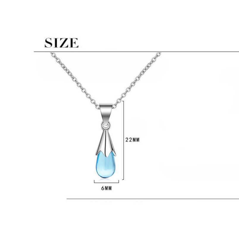 Купить с кэшбэком Simple Blue Crystal Droplet Pendant Necklace Silver Color Chain Necklaces For Women Short Clavicle Chain Choker Fashion Jewelry