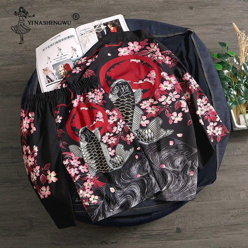 Kimono Cardigan Men Yukata Women Men Japanese Kimono Traditional Top And Pants Sets Kimonos Femme Summer Beach Thin Casual Shirt