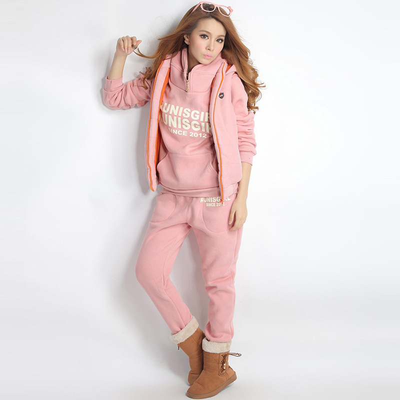 Fall Winter 2019 Women Pink Tracksuit 3 Piece Set Ropa Casual Mujer Velour Outfits Conjunto Moletom Masculino Com Capuz Clothes