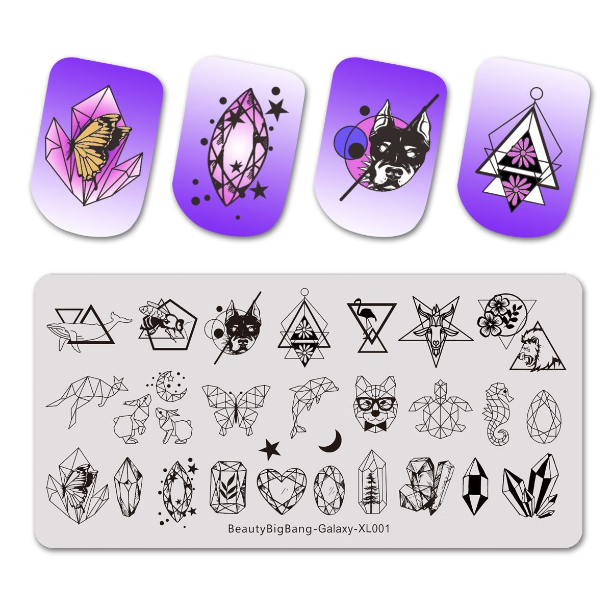 Beautybigbang Galaxy Geometric Stamping Plates Moon Star Rectangle Stainless Steel Leopard Animals Crystal Nail Art Template
