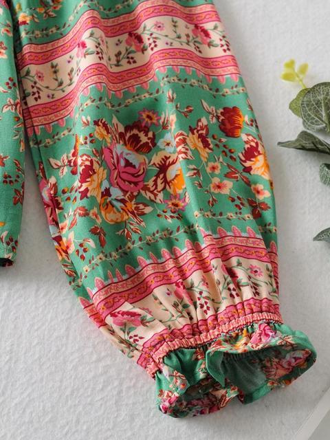 2020 BOHO Lacing up Collar Floral Print Pullover Shirt Women Elastic Waist Maxi Long Skirt Pink Holiday 2 Pieces Set 6