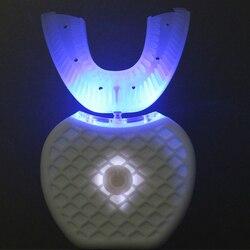 V branco usb escova de dentes elétrica automática 360 graus vibração ultra-sônica elétrica clareamento dos dentes instrumento beleza