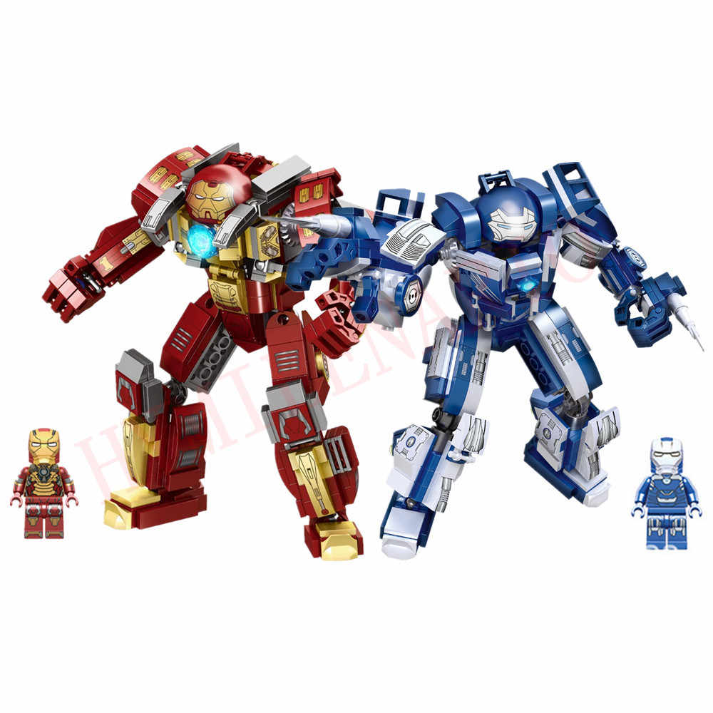 Marvel Avengers Endgame Super Heroes Iron Man Hulkbuster MK17 MK33 Mech Armor Figures Building Blocks BricksKids Educational Toy