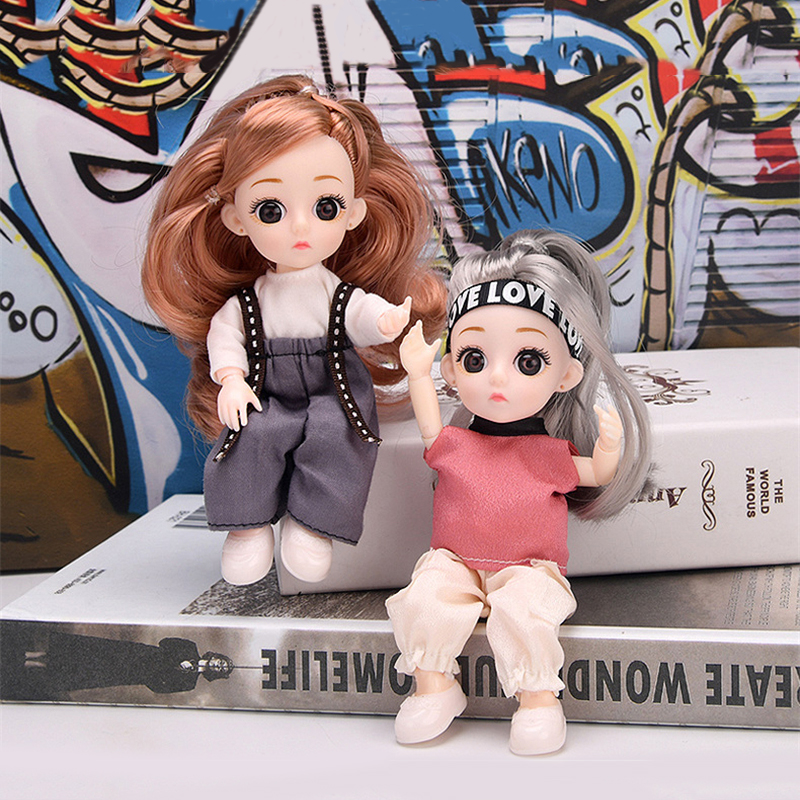 1/8 Fashion Trend BJD Doll 13 movable Jointed 16 CM Sport Hip Hop Style Clothes Dress up Doll Play House Toys for Girls Gifts